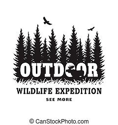Journey into the wild. Badge, t-shirt design.