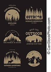 Journey into the wild. Set of emblem, t-shirt design on a dark background. Vector illustration.