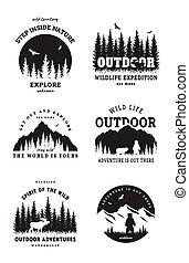 Journey into the wild. Set of emblem, t-shirt design. Vector illustration.