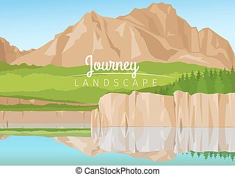 Journey landscape with mountains background - Realistic ...