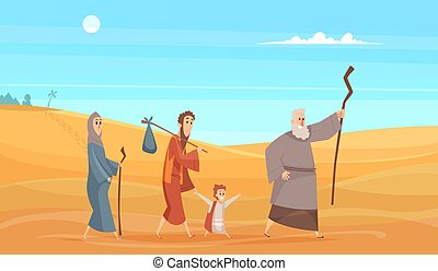 Journey of bible characters. Narrative historical background holy people going in dessert landscape from scenery god vector illustration