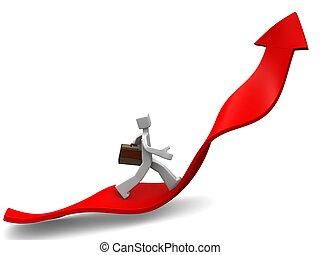 Journey of success concept - Businessman towards arrow...