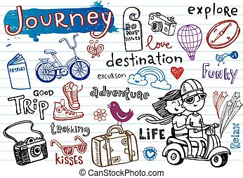Journey, set of funky doodles