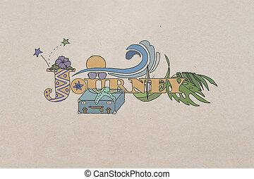 Journey sketch on beige background