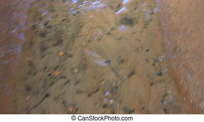 Journey through dungeon 2. Underground stream. Small spillway in cave