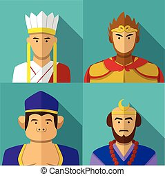 Journey to the West character portrait in flat, vector