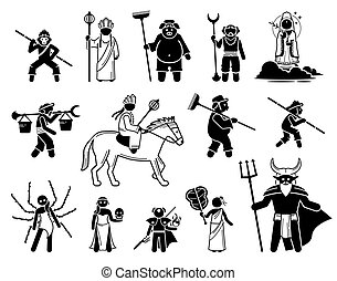 Journey To The West characters icons set. - Vector ...