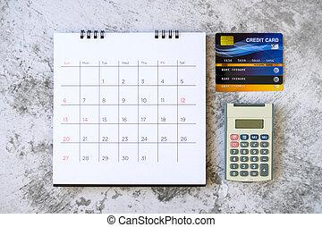 jours, achats, carte, calendrier, concept, table., crédit