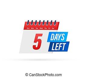 jours, illustration., vecteur, arrière-plan., icon., gauche, blanc, plat, 5, étiquette