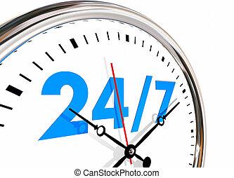 jours, nombres, heures, semaine, horloge, 7, 24, illustration, 3d