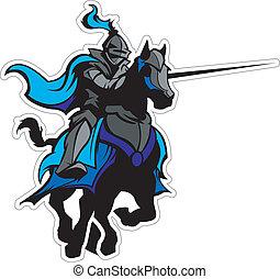 jousting, blauwe , ridder, mascotte, op, paarde