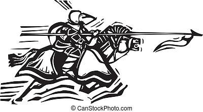 jousting, cavaleiro, esquerda