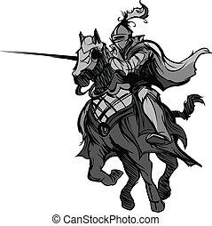 jousting, cavaleiro, mascote, ligado, cavalo