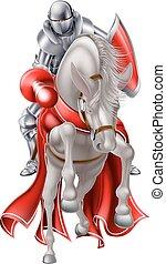 jousting, cavalo branco, cavaleiro