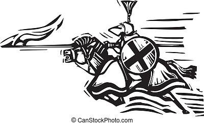 jousting, direita, cavaleiro