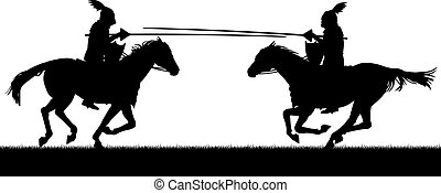 Editable vector silhouettes of two knights on horses jousting with all figures as separate objects