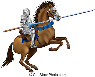Jousting knight - Drawing of a jousting knight in armour on...