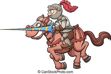 Jousting knight riding a horse. Vector clip art illustration...