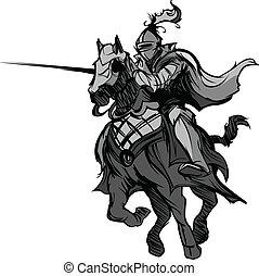 Jousting Knight Mascot on Horse - Knight with armor riding a...