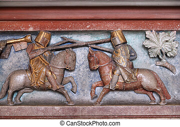Jousting knights - Malbork castle in Pomerania region of...