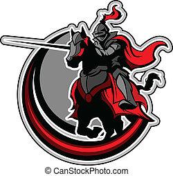 jousting, mascote, cavaleiro, cavalo