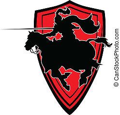jousting, vector, silhouette, m, ridder