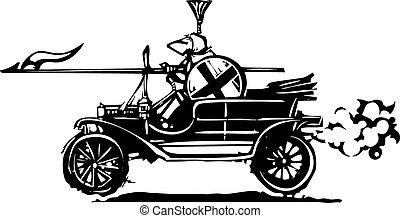 jouter, chevalier, voiture