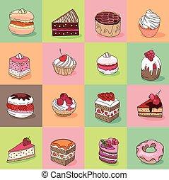 jouw, anders, soorten, restaurant, model, dessert., seamless, textuur, ontwerp, aankondigingen, eindeloos, menu., affiches, postkaarten