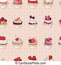 jouw, anders, soorten, restaurant, model, dessert., seamless, textuur, ontwerp, fruit, aankondigingen, eindeloos, menu., affiches, postkaarten