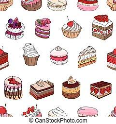 jouw, anders, soorten, restaurant, model, dessert., seamless, textuur, ontwerp, verstand, aankondigingen, eindeloos, menu., affiches, postkaarten