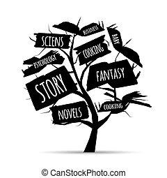 jouw, boompje, bibliotheek, ontwerp, boekjes
