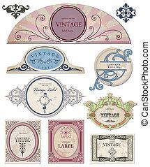 jouw, etiketten, vector, ouderwetse , verzameling, design.