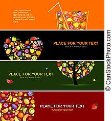 jouw, horizontaal, ontwerp, banieren, vruchten