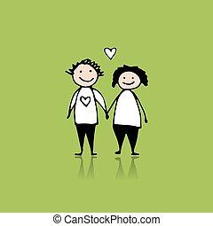 jouw, liefde, paar, schets, ontwerp
