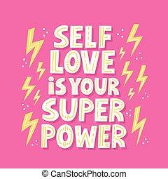 jouw, media, quote., t, lettering, kaart, selflove, hemd, getrokken, fantastisch, vector, macht, poser, hand, sociaal
