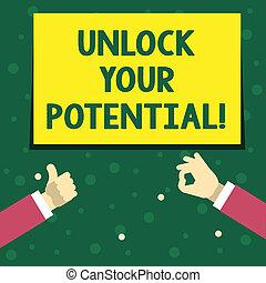 jouw, onthullen, concept, talent, vaardigheden, tekst, potential., ontsluiten, schrijvende , betekenis, zeug, abilities., handschrift