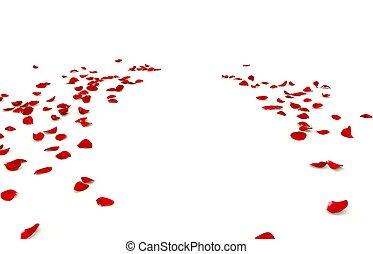 jouw, ruimte, floor., ontwerp, daar, kroonbladen, roos, verspreid, kosteloos