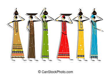 jouw, vrouwen, ontwerp, kruiken, ethnische