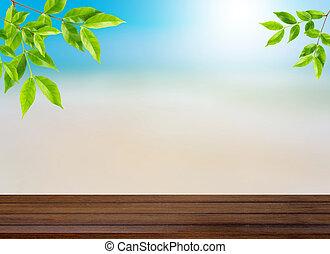 jouw, zomer, concept, blad, display, zijn, montage, hout, bovenzijde, -, benevelde achtergrond, gebruikt, producten, groenteblik, tafel, strand, of