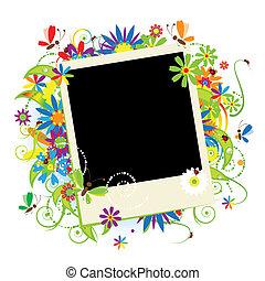 jouw, zomer vakantie, tussenvoegsel, frame, foto
