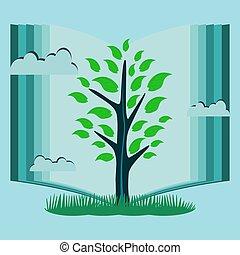jovem, árvore, com, verde sai, em, a, fundo, de, um, abertos, book., a, símbolo, de, conhecimento, leitura, library.