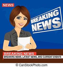 jovem, âncora notícia, mulher, elaboração do relatório, quebrando notícia, sentando, em, estúdio