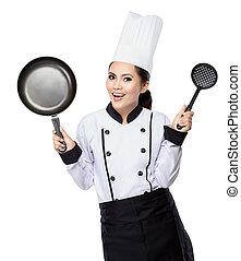 jovem, ação, mulher, cozinheiro