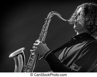 jovem, adolescente, jogo saxophone