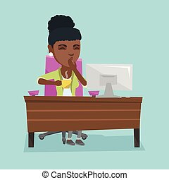 jovem, africano-americano, cansadas, trabalhador escritório, bocejar