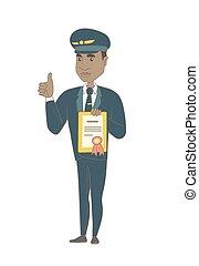 jovem, africano-americano, certificado., segurando, piloto