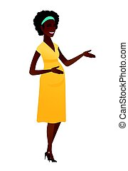 jovem, africano-americano, mulher grávida, gesturing.