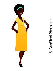 jovem, africano-americano, mulher grávida, rindo.