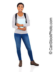 jovem, africano, faculdade, menina
