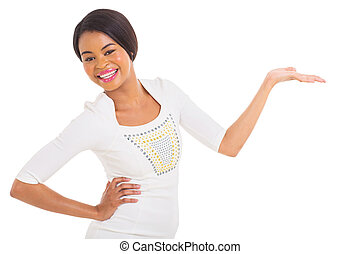jovem, africano, menina, apresentando